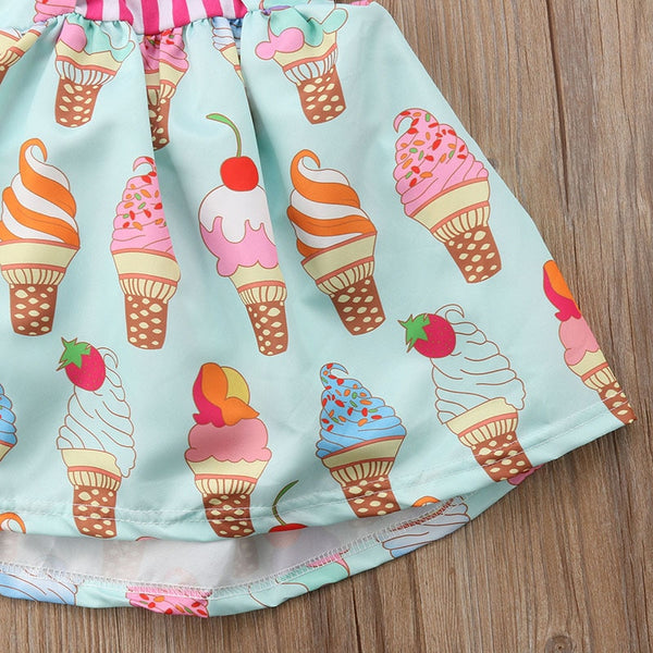 Girls Summer Sleeveless Ice Cream Print Strap Dress 6M-5T