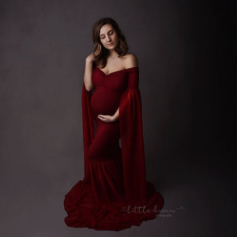 Long Sleeves Fancy Maternity Gown Dress