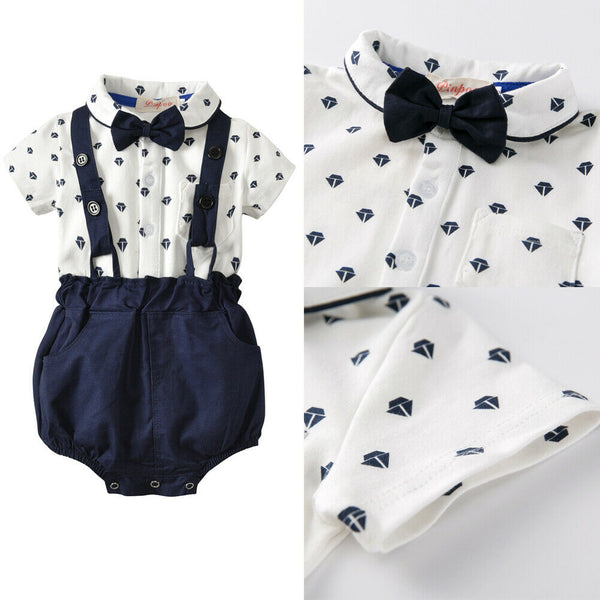 Newborn Infant Baby Boys Bow Tie Romper Outfit 2PCS Set