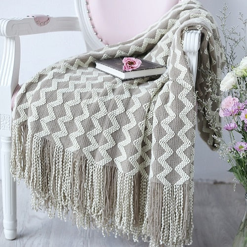 Soft Warm Knit Throw with Fringe for Sofa Couch Bed  47 x 79 inches