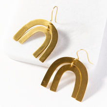 Load image into Gallery viewer, Brass Double Rainbow Earrings