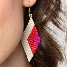 Load image into Gallery viewer, Scarlet Diamond Chevron Earrings