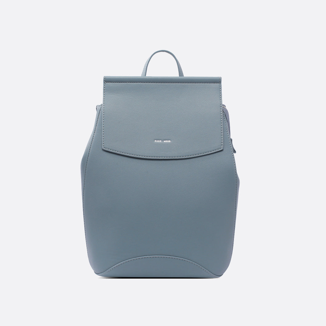 Vegan Leather Convertible Backpack - Mineral Blue