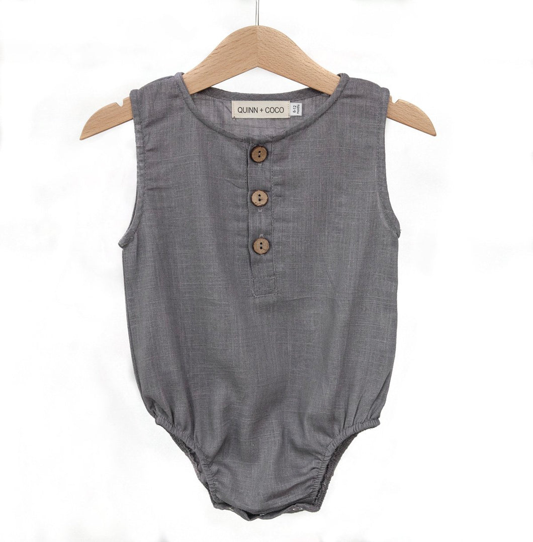 SECOND - Quinn Romper Grey 0-3m