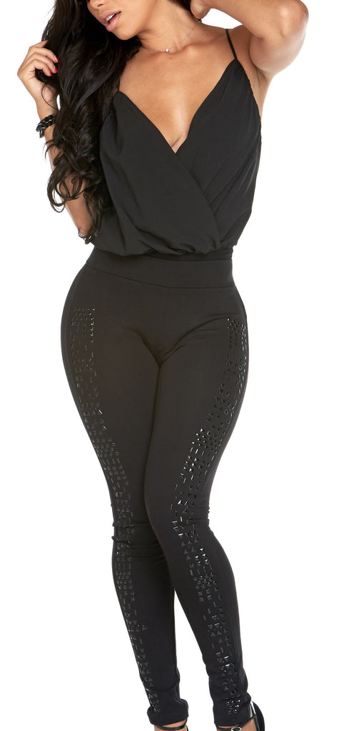"""Be Dazzled Gun Metal"" Black Legging"