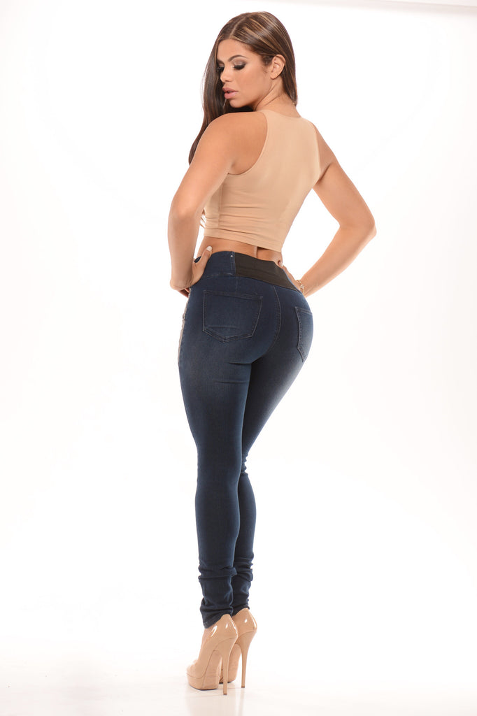 Gatinha leather detail jeans