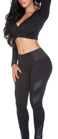 Black Leather Detail Black Legging