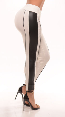 Perfect Mix (white legging with leather trim)