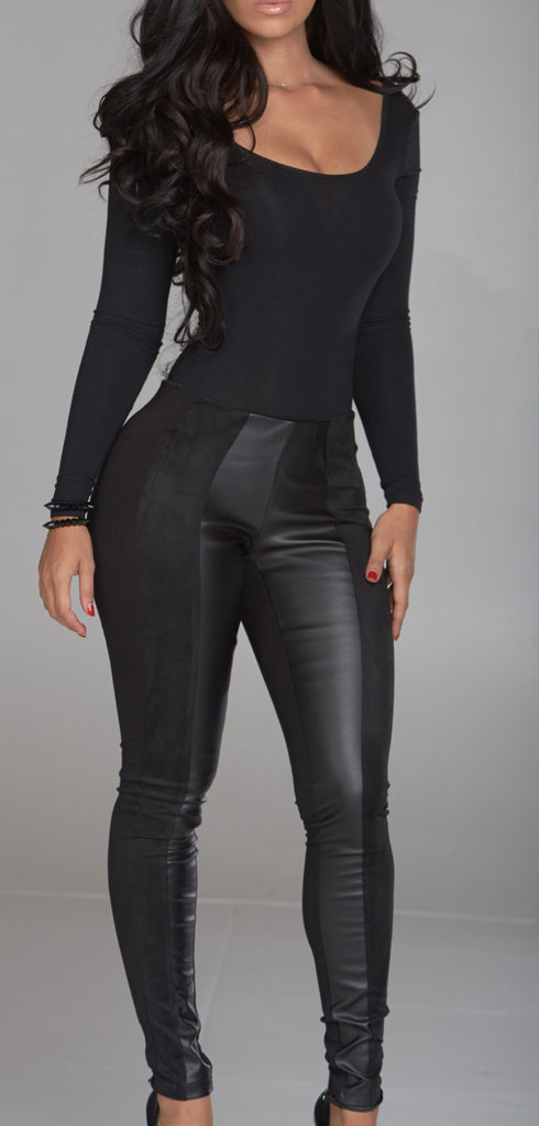 Black Suede Leather Legging