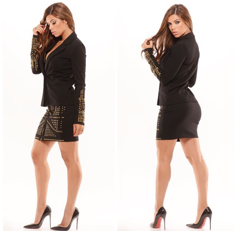 Be Dazzled Gold (2 piece skirt set) black