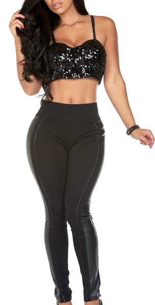 Perfect mix (black legging with Leather trim)