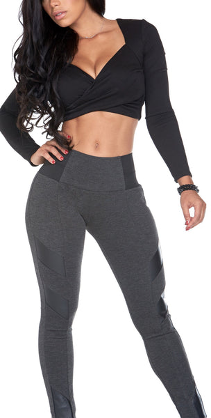 Black Leather Detail Grey Legging