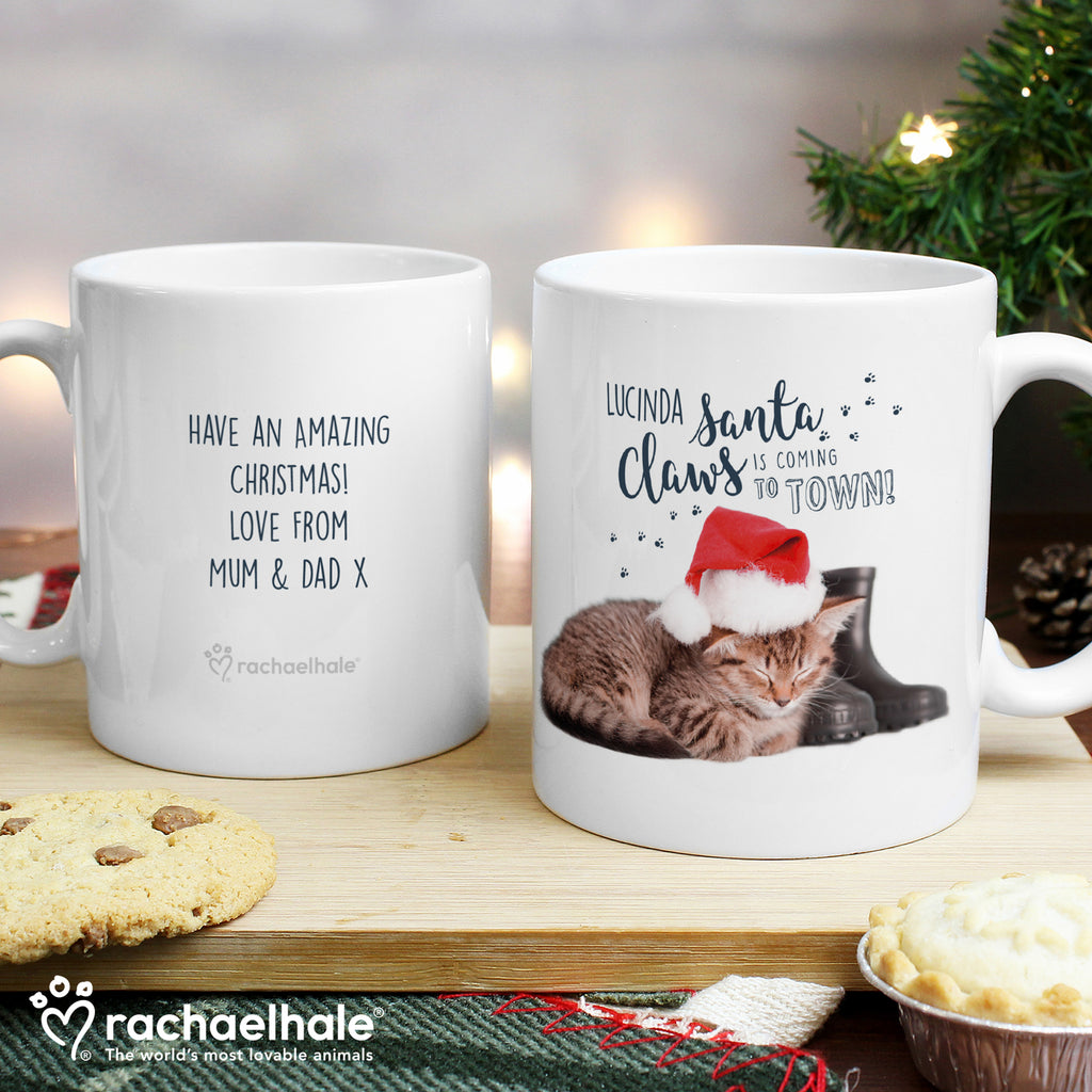 Personalised Rachael Hale Santa Claws Christmas Cat Mug - Ceylon Teabox