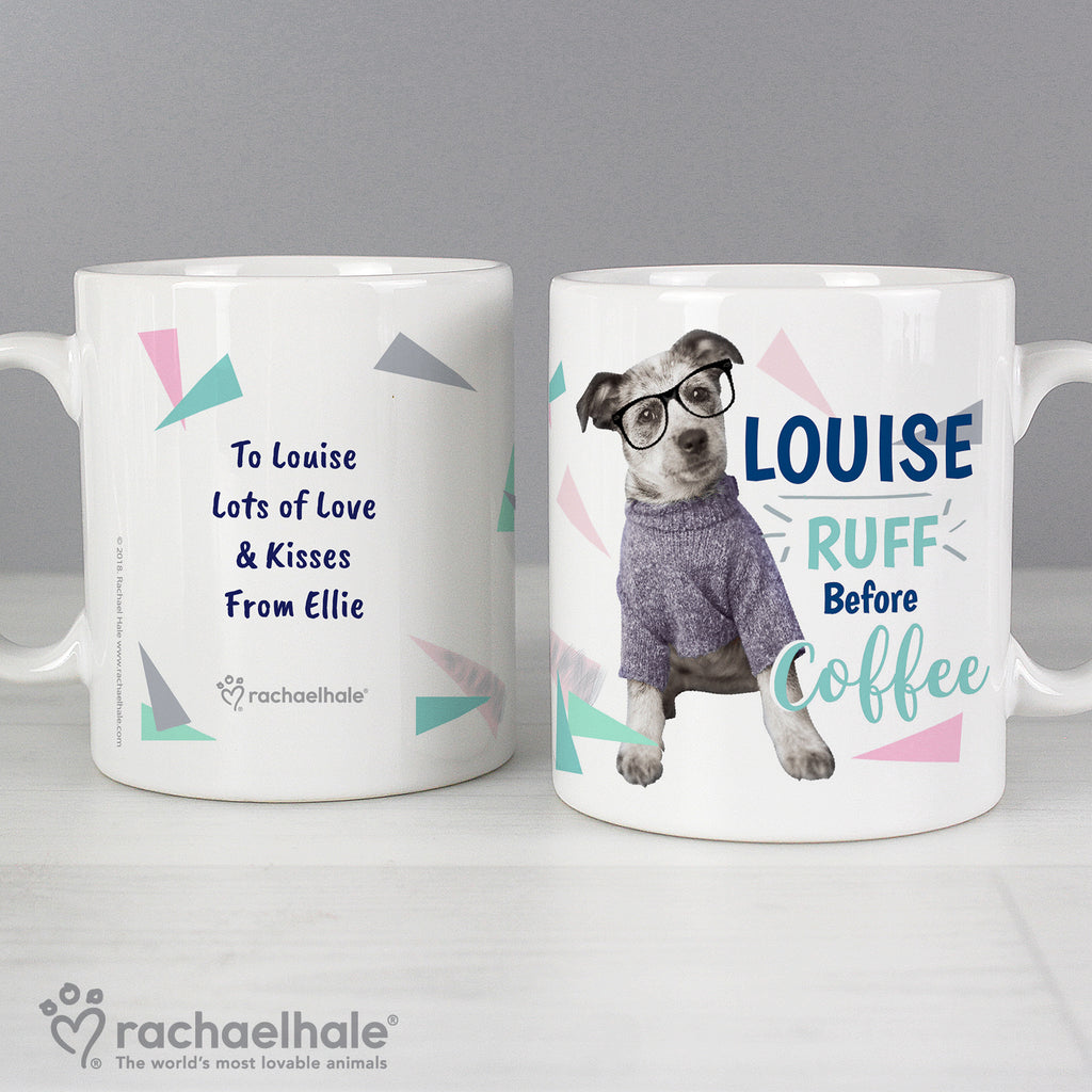Personalised Rachael Hale 'Ruff Before Coffee' Dog Mug - Ceylon Teabox