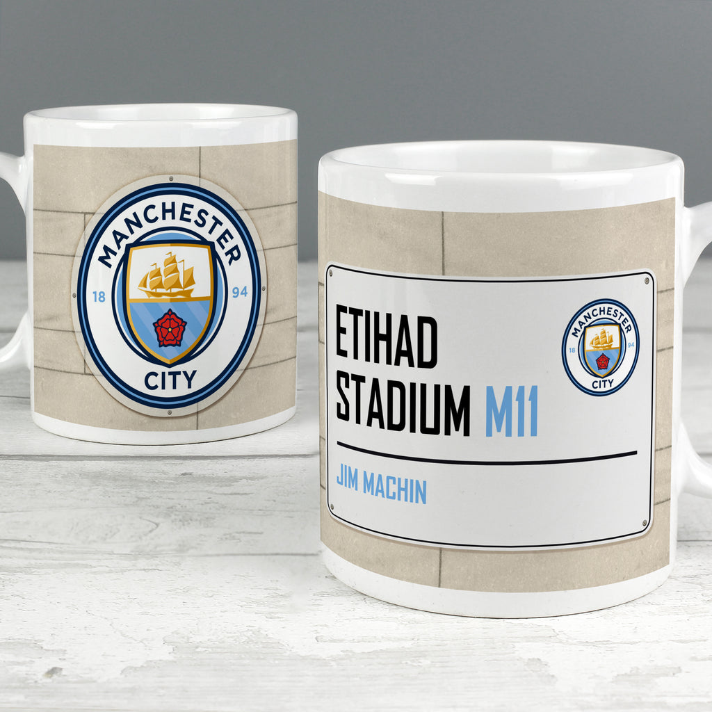 Personalised Manchester City FC Street Sign Mug - Ceylon Teabox
