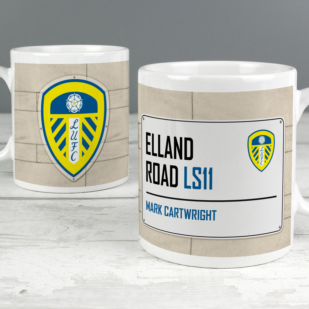 Personalised Leeds United FC Street Sign Mug - Ceylon Teabox