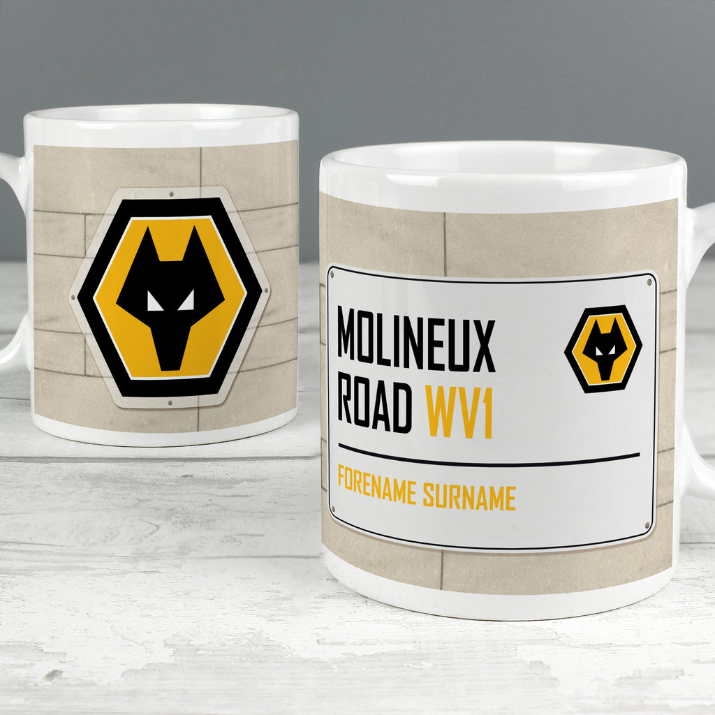 Personalised Wolves Street Sign Mug - Ceylon Teabox