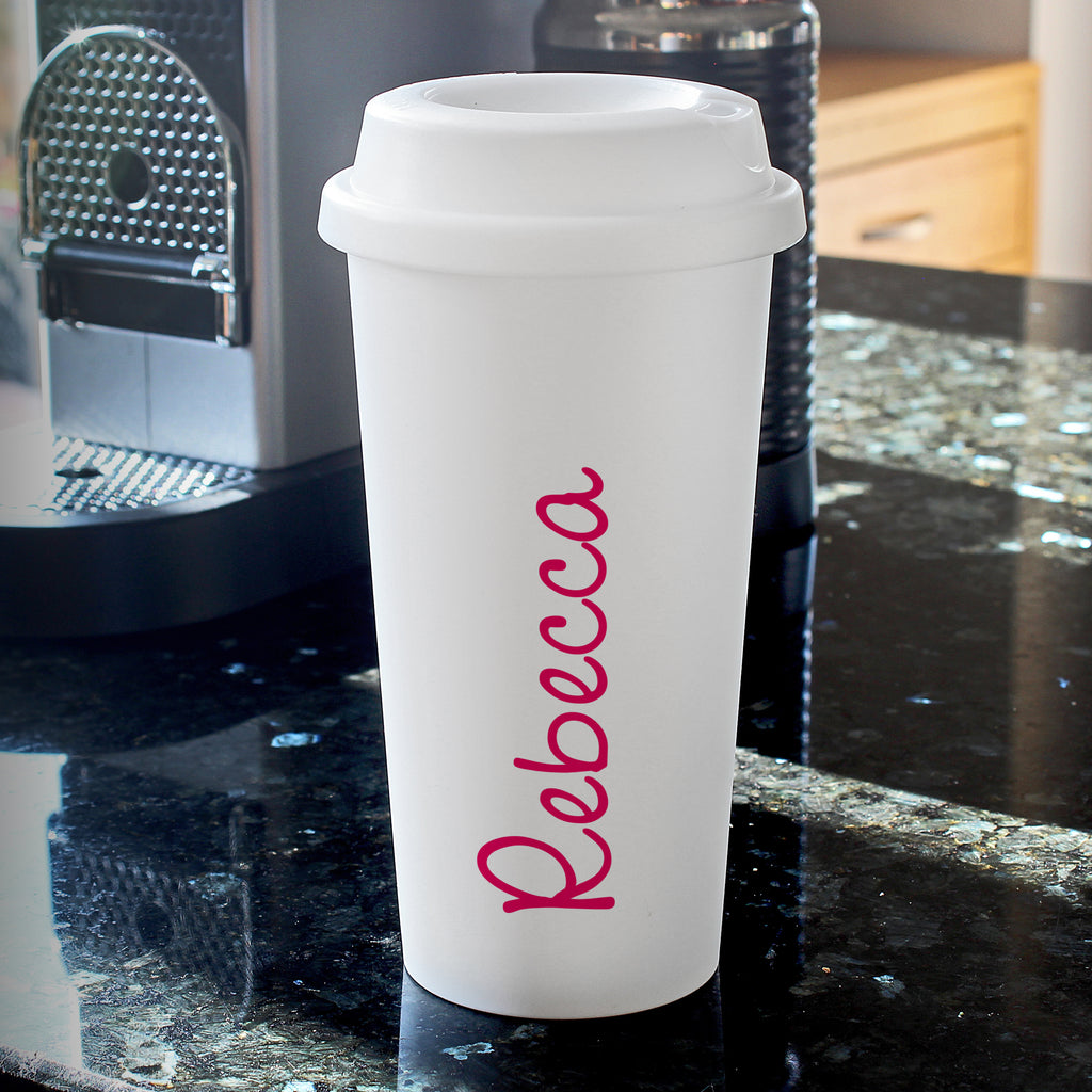 Personalised Pink Name Island Insulated Eco Travel Cup - Ceylon Teabox