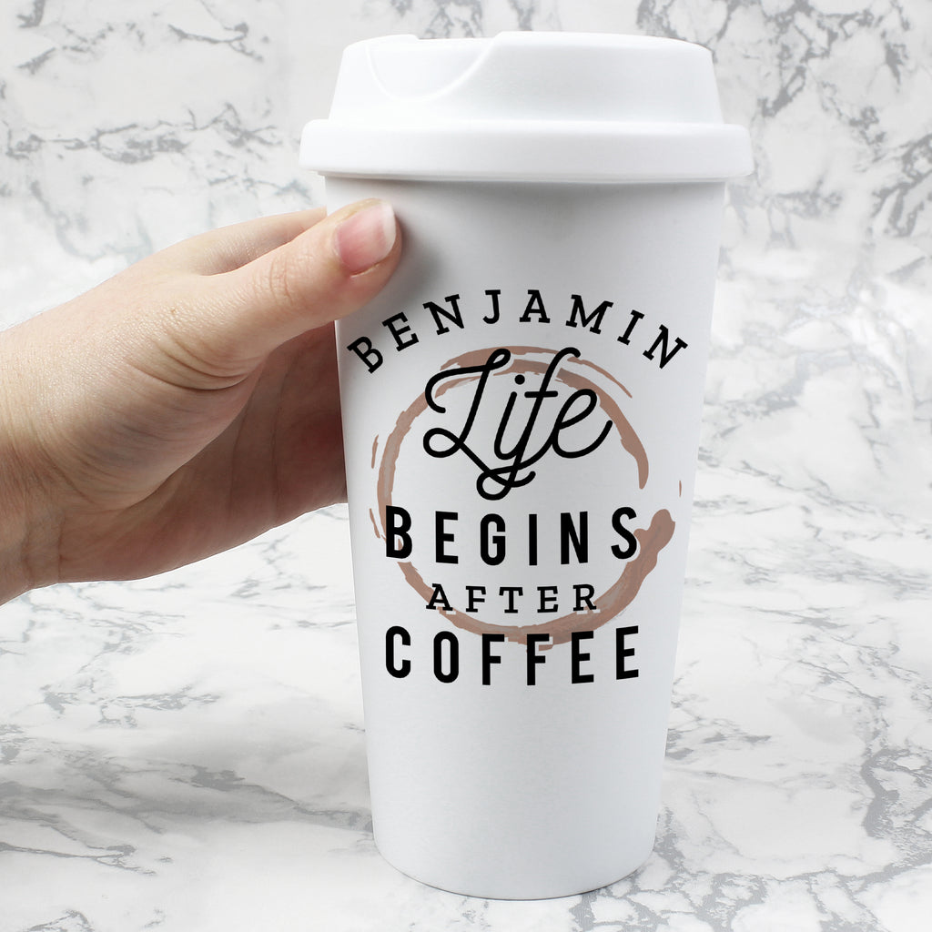 Personalised 'Life Begins After Coffee' Insulated Eco Travel Cup - Ceylon Teabox
