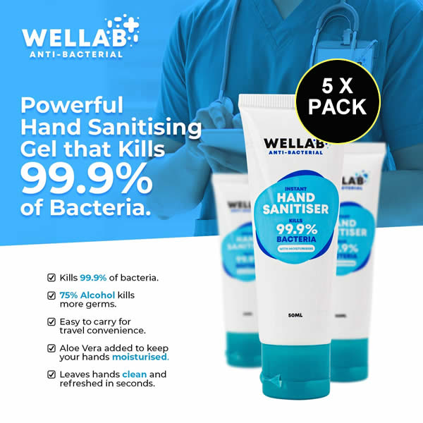 Wellab Hand Gel Sanitiser 75% Alcohol - 5 X Pack - Ceylon Teabox
