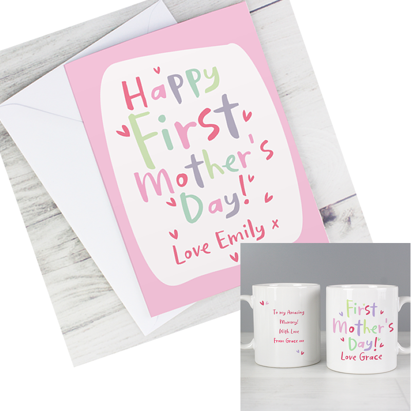 Personalised First Mother's Day Mug & Happy First Mother's Day Card