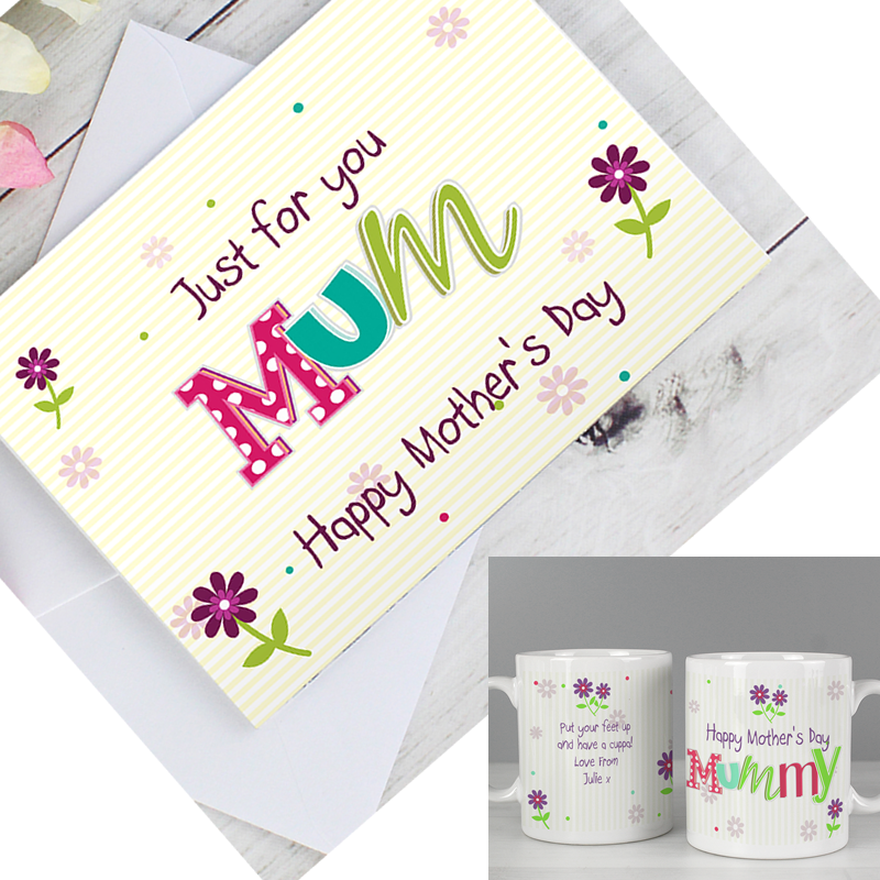 Personalised Patchwork Flowers Mug & Patchwork Flowers Card