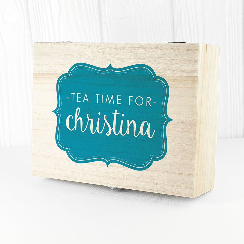 Time For Tea! Coloured Personalised Wooden Tea Box - Ceylon Teabox