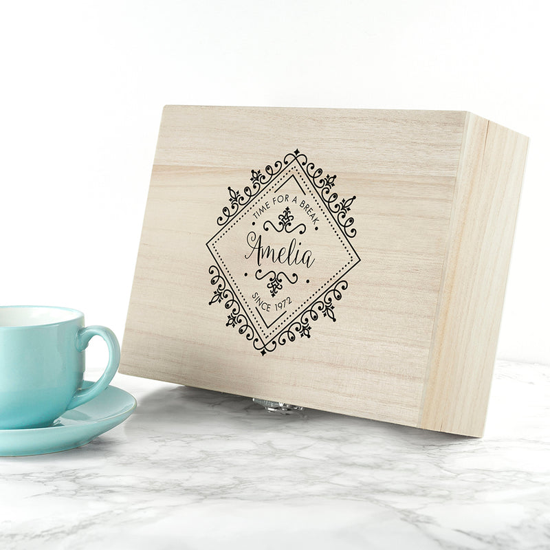 Time For A Break! Blooming Beautiful Personalised Wooden Tea Box - Ceylon Teabox