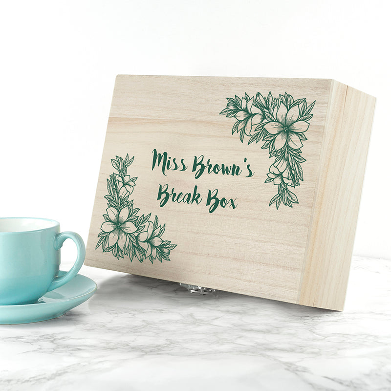 Personalised Teacher's Tea Break Box Floral Design - Ceylon Teabox