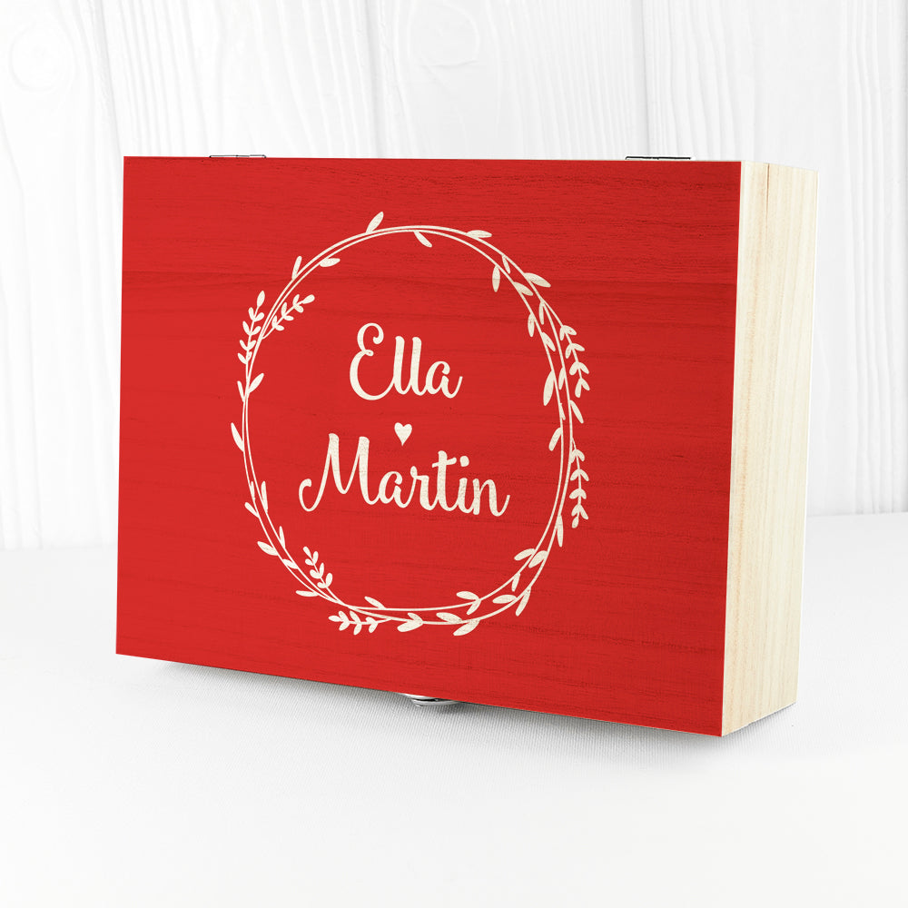 Personalised Romantic Wreath Tea Box - Ceylon Teabox