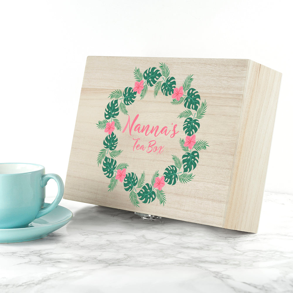 Personalised Rainforest Wreath Mother's Day Tea Box - Ceylon Teabox