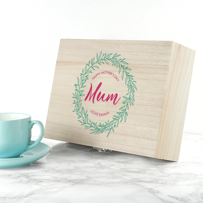 Personalised Leaf Wreath Mother's Day Tea Box - Ceylon Teabox