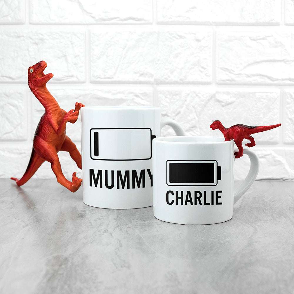 Personalised Mummy & Me Low Battery Mugs - Ceylon Teabox