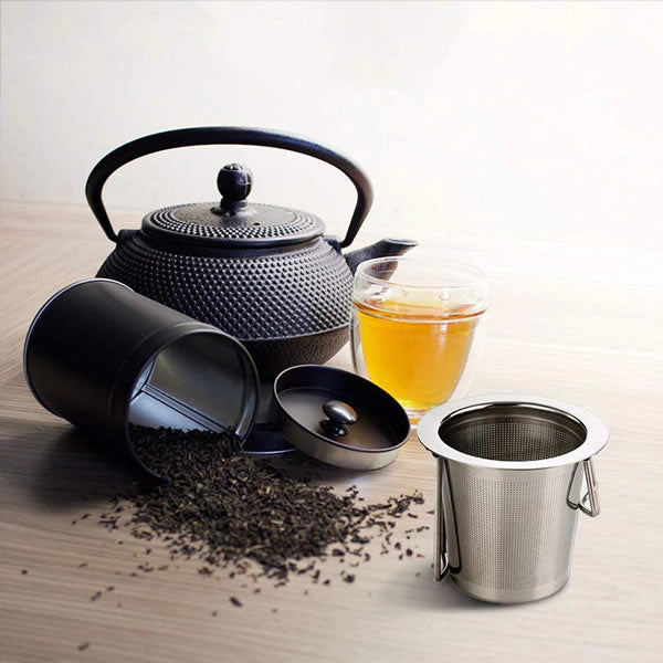 Stainless Steel Folding Double Handle Tea Infuser with Lid - Ceylon Teabox