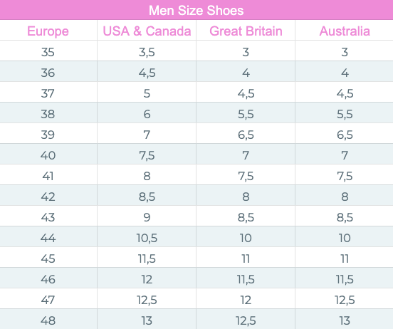 men size chart for shoes