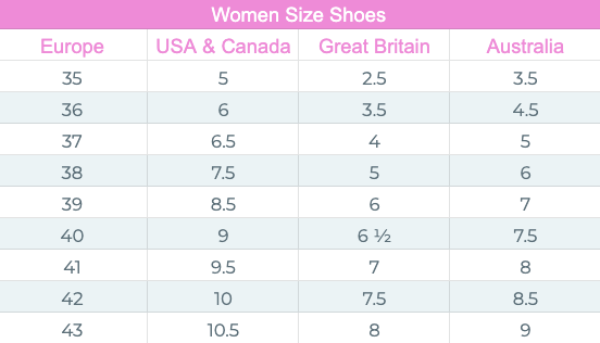 women size chart for shoes