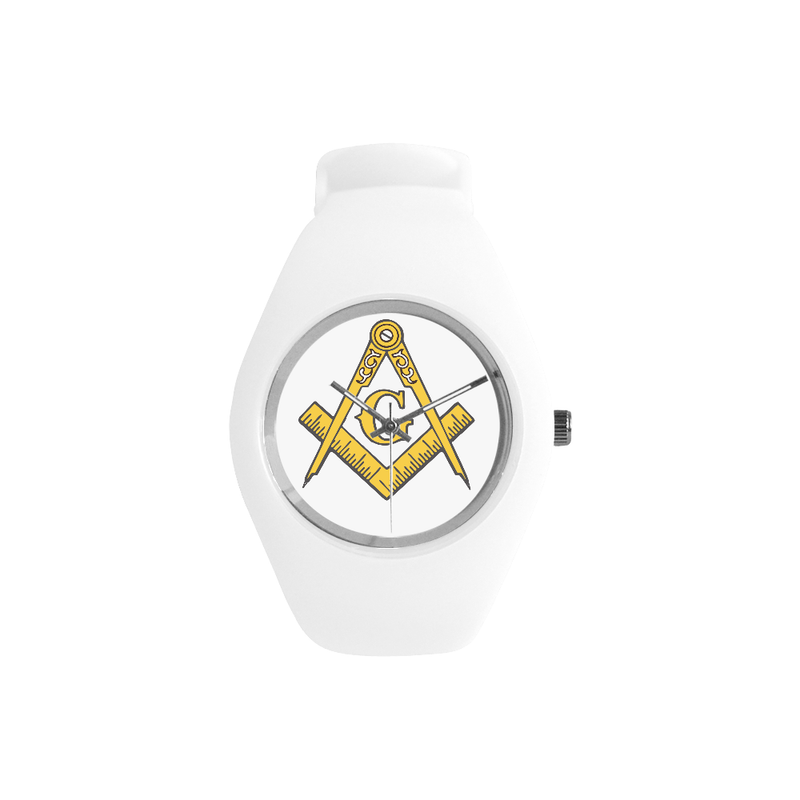 White Silicone Gold Compass Mason Watch