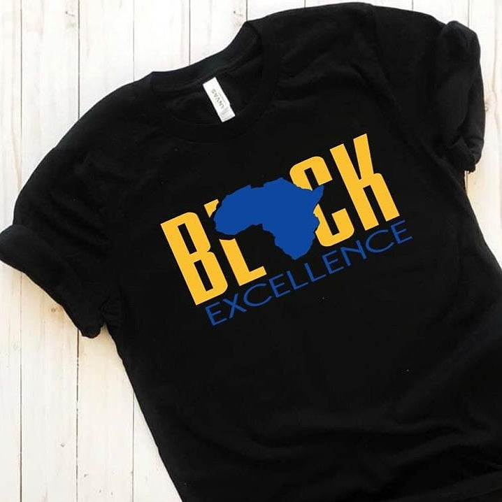 Graphic Tee: (Royal And Gold) Black Excellence