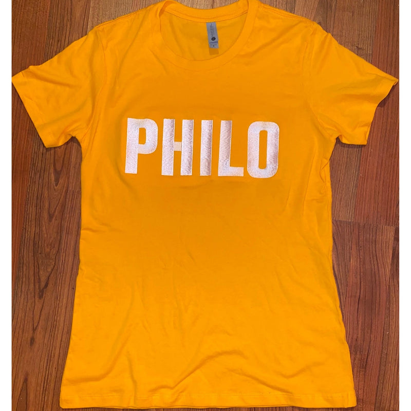 Gold Philo Embroidered T Shirt (Ladies Fit)