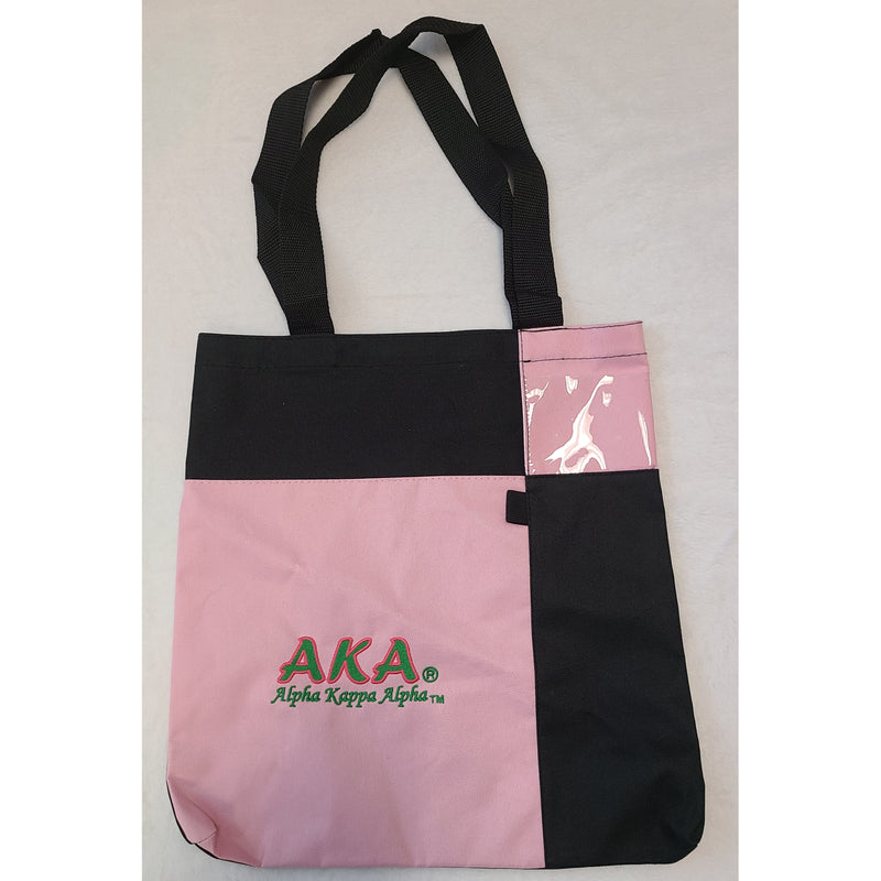 Pink and Black Square  Embroidered Tote