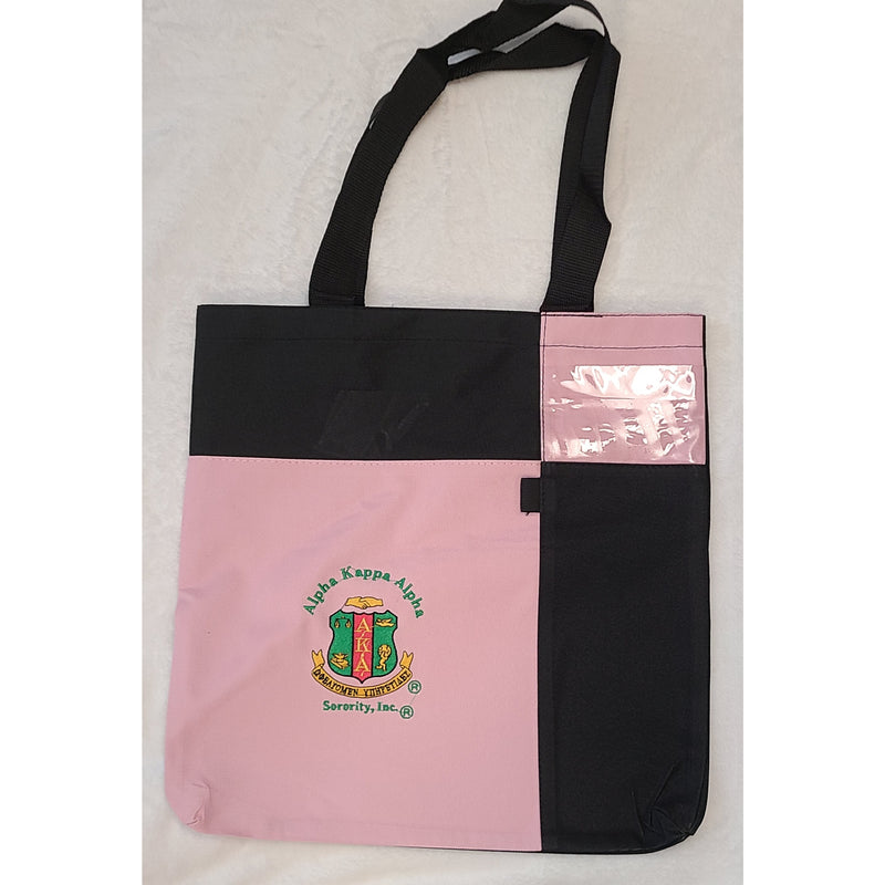 Pink and Black Shield Embroidered Tote