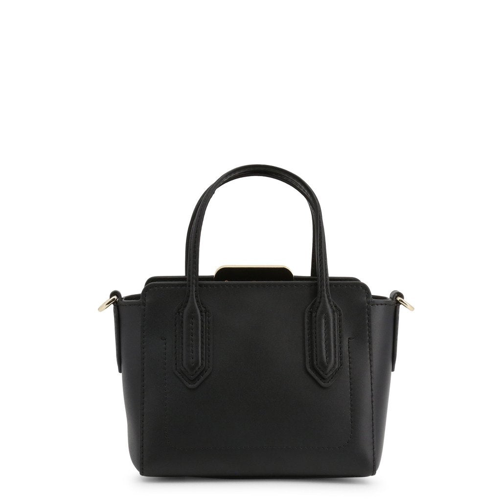 Black Leather Handbag with Visible Logo