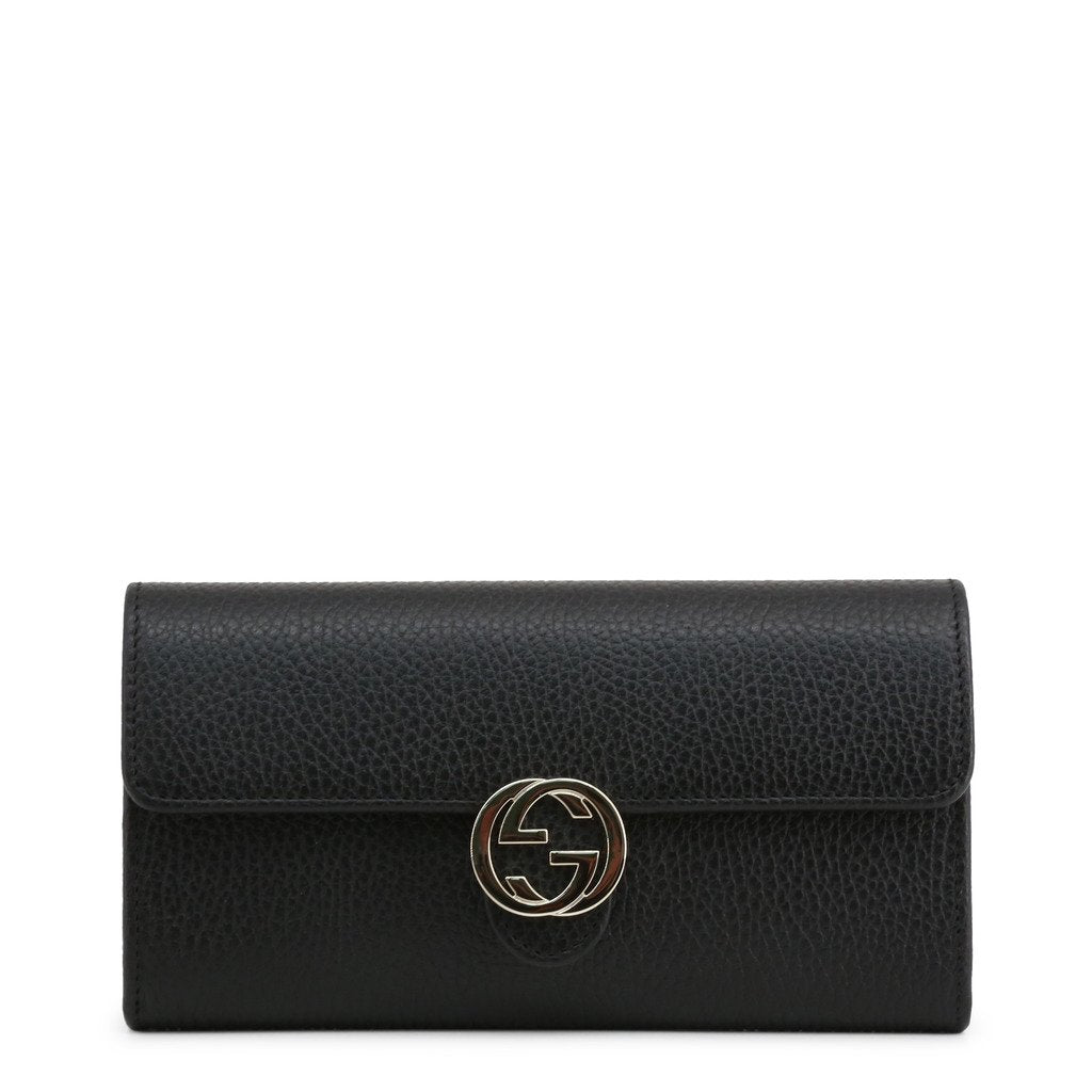 Black Leather Wallet with Metallic Fastening and Visible Logo