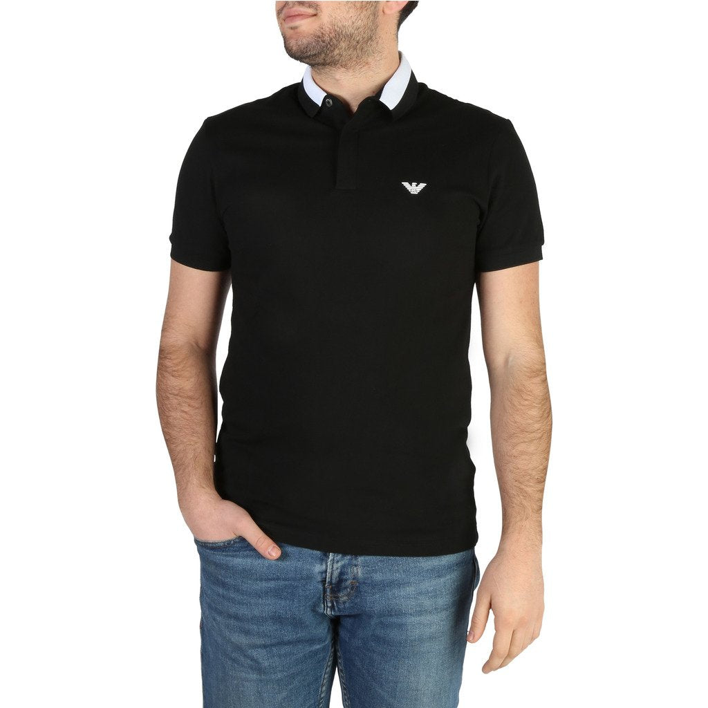Black Cotton Short Sleeves Polo T-Shirt