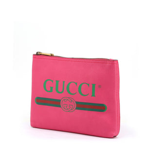 Pink Leather Zip Clutch Bag