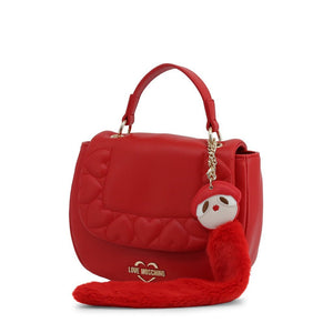Red Leather Handbag with Visible Logo
