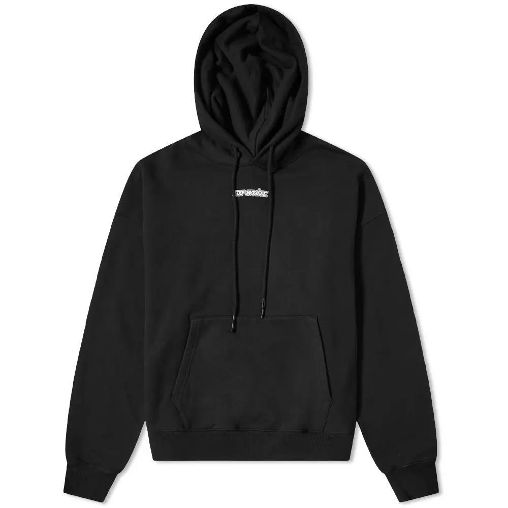 OFF-WHITE HOODED MARKER SWEATSHIRT IN BLACK