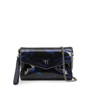 Blue clip fastened clutch bag with removale shoulder strap and logo details