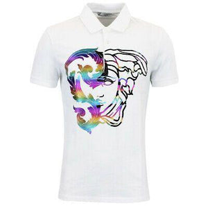 VERSACE COLLECTION POLO SHIRT LARGE MEDUZA RAINBOW COLOUR PRINT