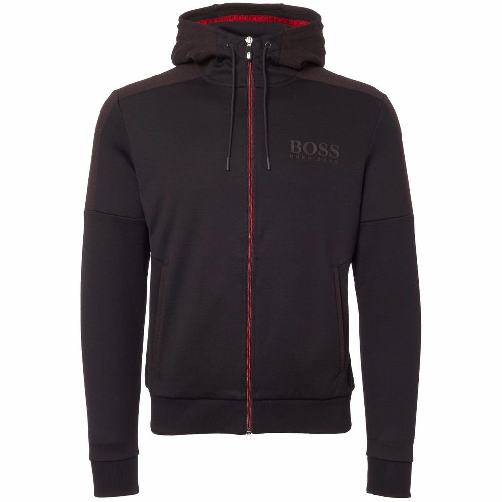Hugo Boss-SAGGI ZIPPED HOODIE-BLACK / RED